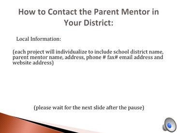 How to contact a Parent Mentor