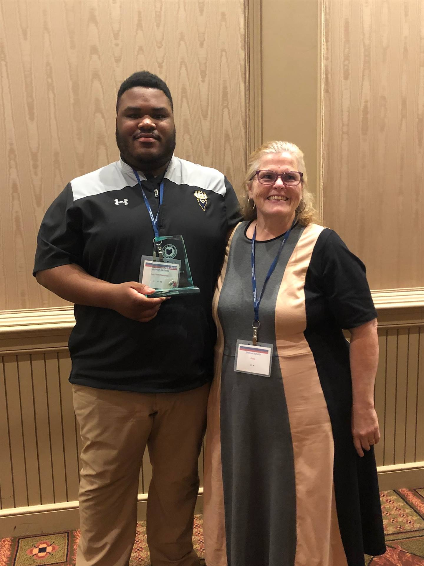 Joseph Schultz (pictured with his mother) receives the 2019 R.A. Horn Outstanding Student Achievemen